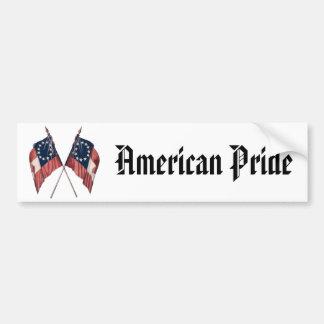 Vintage Original Illustrated American Flag Bumper Sticker