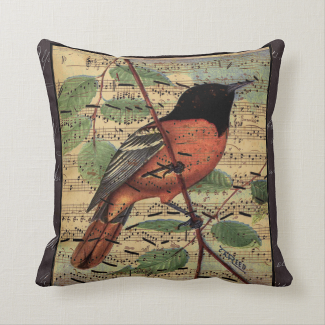 Vintage Oriole On  Music Throw Pillow