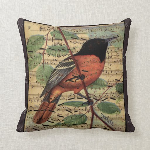 Vintage Oriole On Old Music Pillow