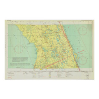 Vintage Orlando y mapa central de la Florida Póster