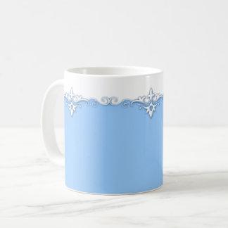 Vintage ornament border light blue coffee mug