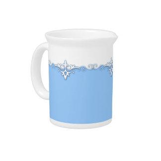 Vintage ornament border light blue drink pitcher