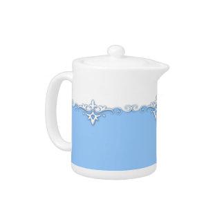 Vintage ornament border light blue teapot