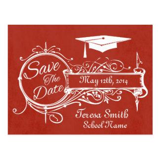 Vintage Ornament & Chalk Graduation Save The Date Post Cards