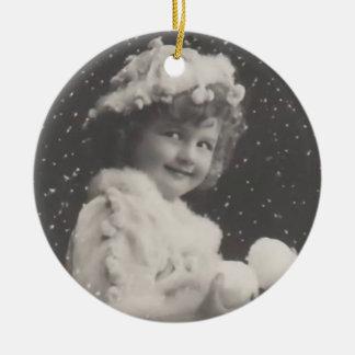 Vintage Ornament-girl with snowballs Ceramic Ornament