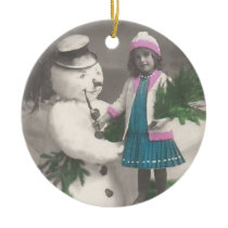 Vintage Ornament-vintage girl with snowman Ceramic Ornament