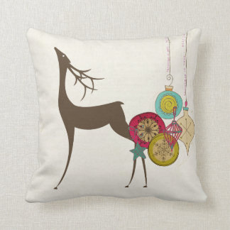 Vintage Ornaments and Deer Holiday Pillow