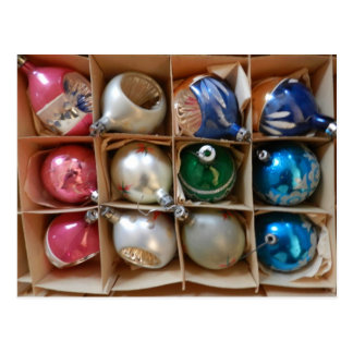 Vintage Ornaments Christmas Photo Pink Silver Blue Postcard