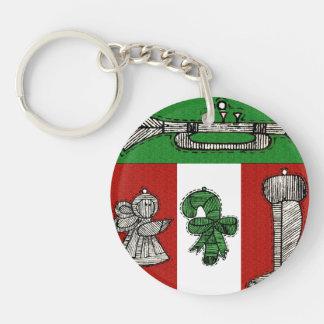 Vintage Ornaments Single-Sided Round Acrylic Keychain