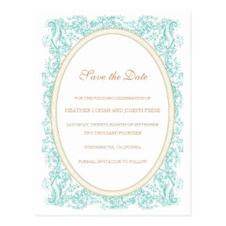 Vintage Ornate Blue & Gold Save the Date Post Card