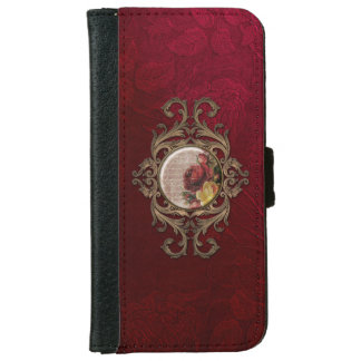 Vintage Ornate Burgandy Floral iPhone 6/6s Wallet Case