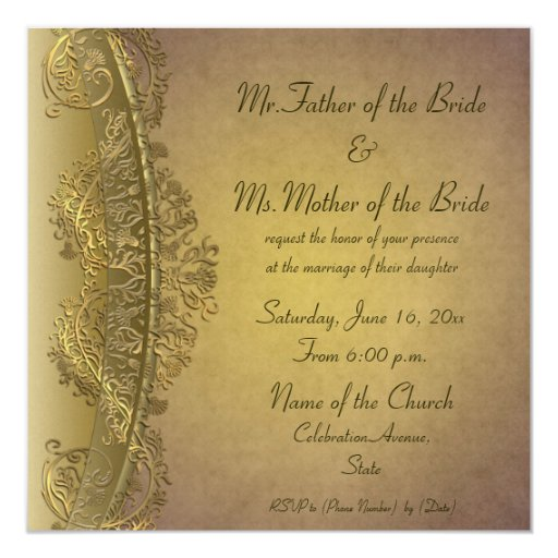 Vintage ornate damask pattern wedding invitations