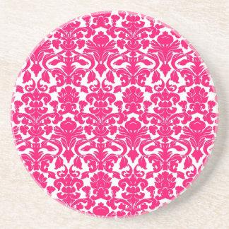 Vintage Ornate Floral Hot Pink Damask Coaster