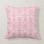 Vintage Ornate Floral Light Pink Damask Pillow