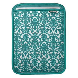 Vintage Ornate Floral Teal Damask iPad Sleeve