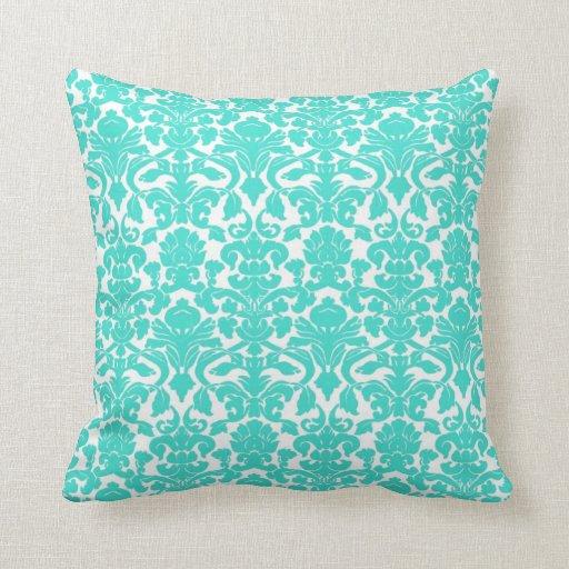 Vintage Ornate Floral Turquoise Damask Pillow