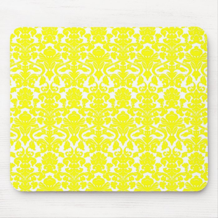 Vintage Ornate Floral Yellow Damask Mousepad