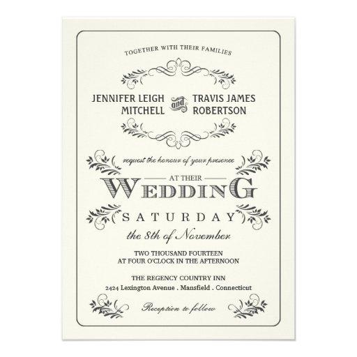 Vintage Ornate Flourish Wedding Invitations