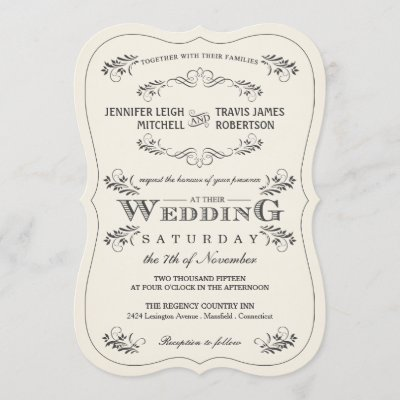 Vintage Ornate Flourish White Wedding Invitations