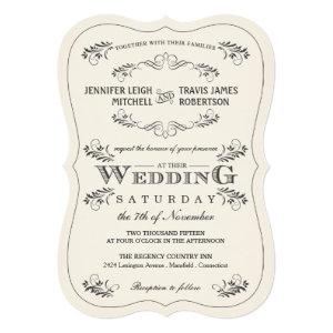 Vintage Ornate Flourish White Wedding Invitations 5