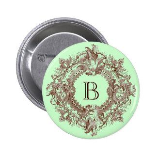 Vintage Ornate Flourish Wreath Button