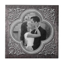 Vintage Ornate Frame Photo Template Wedding Tile
