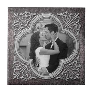 Vintage Ornate Frame Photo Template Wedding Tile