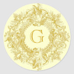 Vintage Ornate Gold Flourish Wreath Round Sticker
