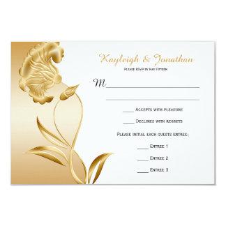 Vintage Ornate Gold Flowers Swirls RSVP 3.5x5 Paper Invitation Card