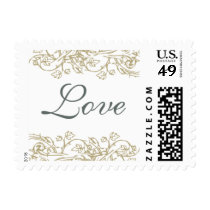 Vintage Ornate Gray & Gold Love Stamp