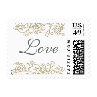 Vintage Ornate Gray & Gold Love Stamp