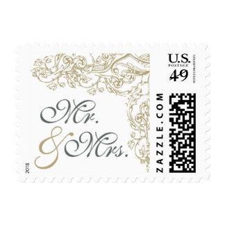 Vintage Ornate Gray & Gold Mr. & Mrs. Stamp