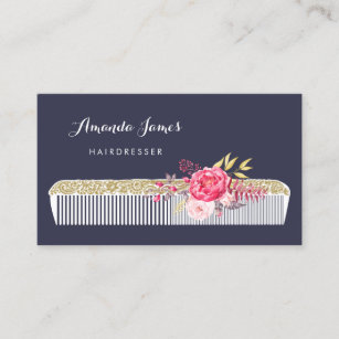 Vintage Ornate Hairdresser Comb With Pink Fl Business Card