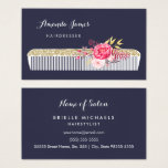 Vintage Ornate Hairdresser Comb With Pink Floral Business Card at Zazzle