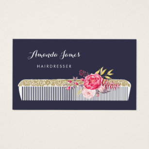 Hairdresser business cards templates zazzle vintage ornate hairdresser comb with pink floral business card colourmoves