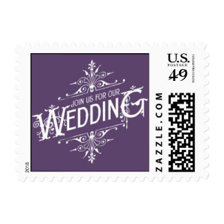 Vintage Ornate - Join us for our Wedding - Purple Postage Stamp
