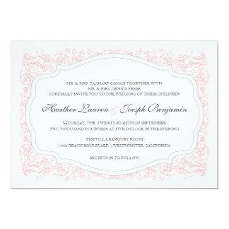 Vintage Ornate Pink & Gray Wedding Invitation