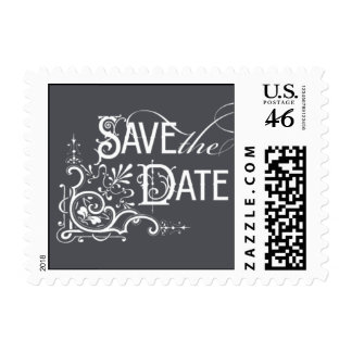 Vintage Ornate - Save the Date - Gray Stamps