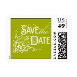 Vintage Ornate - Save the Date - Green Postage Stamp