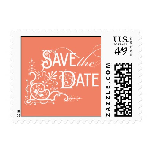 Vintage Ornate - Save the Date - Pink Postage