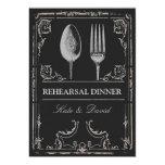 Vintage Ornate Silver Spoon Fork Rehearsal Dinner Personalized Invitations
