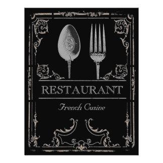 Vintage Ornate Silver Spoon Fork Restaurant Cafe Flyer