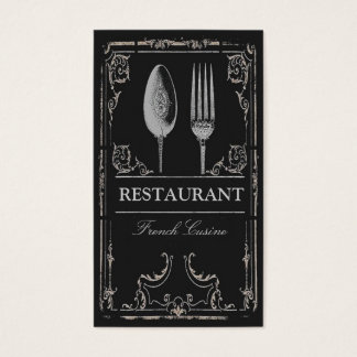 Vintage Ornate Silver Spoon Fork Restaurant Chef Business Card