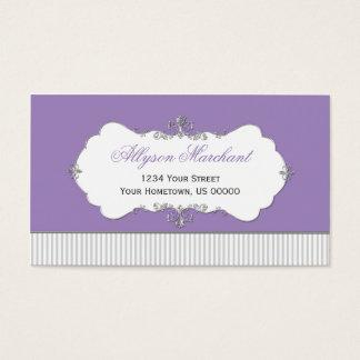 Vintage Ornate Silver Swirls Purple Gray Stripes Business Card