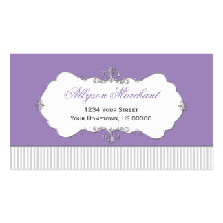 Vintage Ornate Silver Swirls Purple Gray Stripes Double-Sided Standard Business Cards (Pack Of 100)