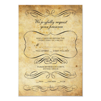 Vintage Ornate Wedding RSVP Card