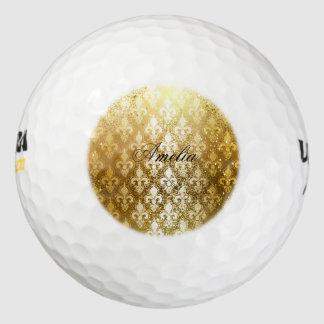 Vintage, oro, flor de lis, antigüedad, vintage, pack de pelotas de golf