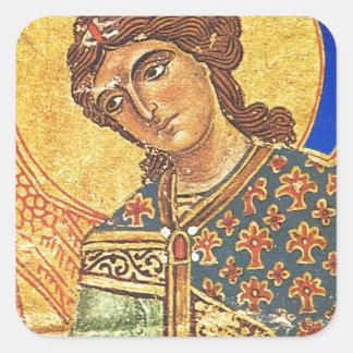 Vintage orthodox ikon, Angel Gabriel Square Sticker