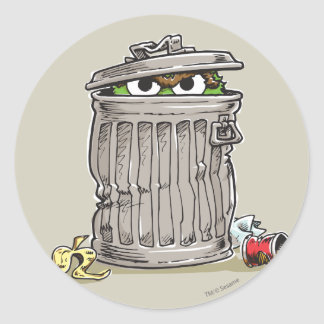 Vintage Oscar in Trash Can Classic Round Sticker