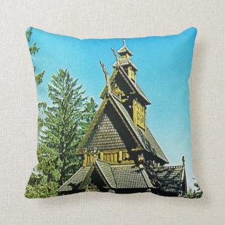 Vintage Oslo, Stave Church Throw Pillow